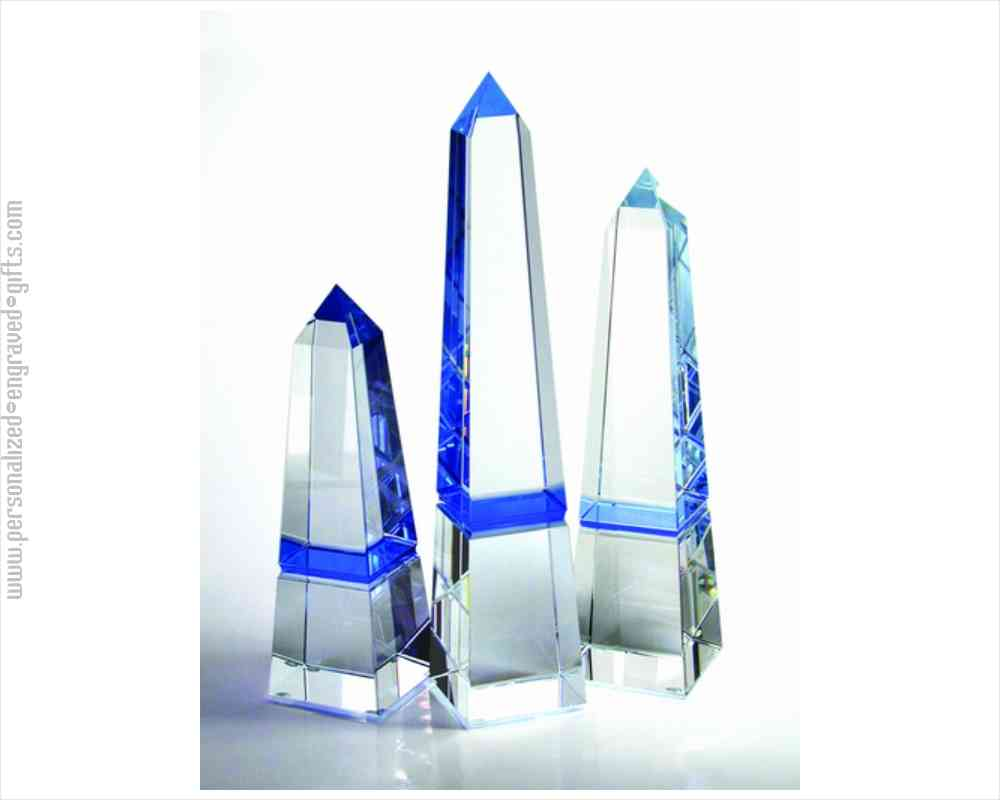 Custom Etched Crystal Obelisk with Azure Hue