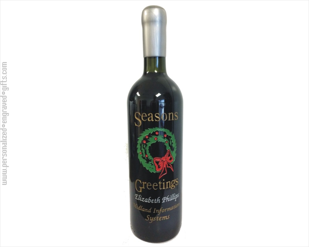 Personalized Engraved Wine Bottles - Holiday Wreath Designs