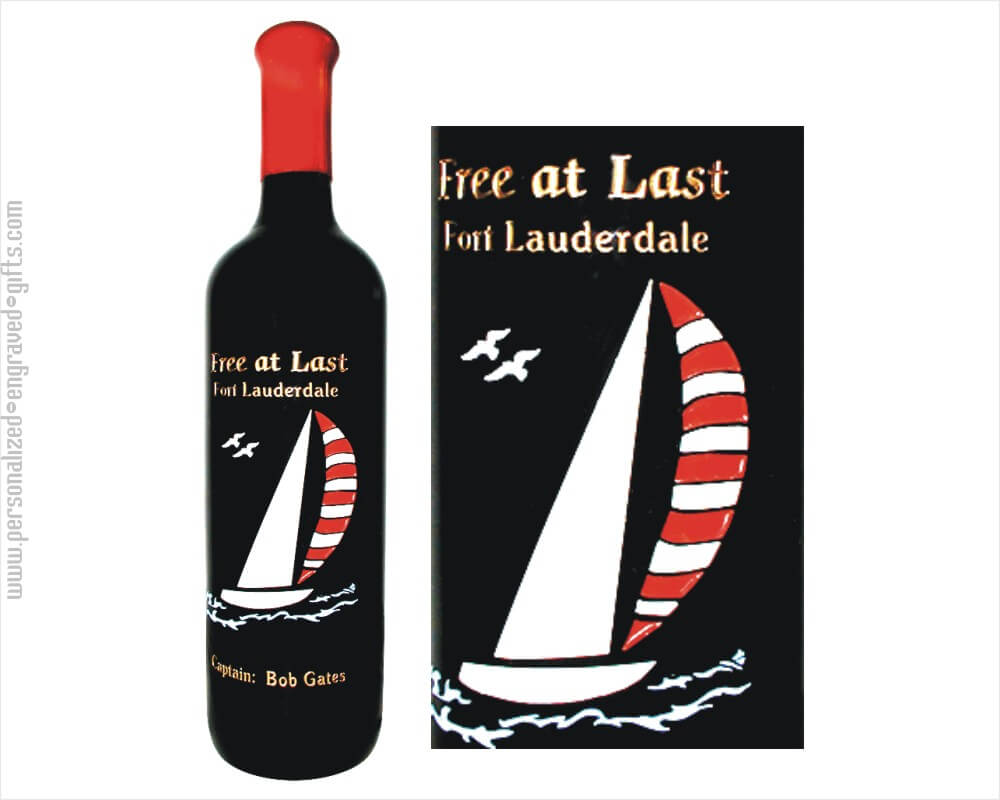 Deep Etched Wine Bottle Sailboat Design Two
