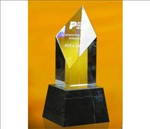 Deep Etched Optic Crystal Award - Deco Diamond
