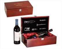 Engraved Wine Gift Box for Two Bottles - High Gloss Piano Finished Wood