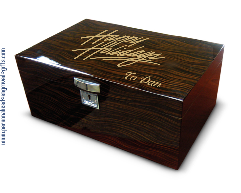 Ebony Desktop Humidor Individually Personalized