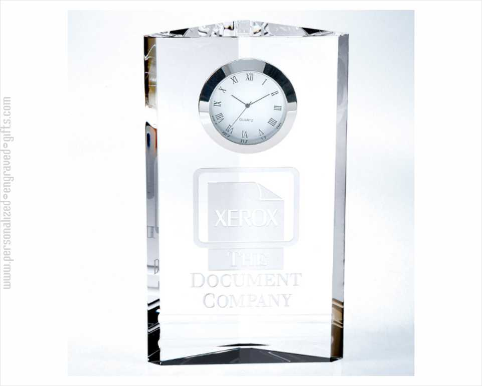 Engraved 7inch Crystal Clock Triune