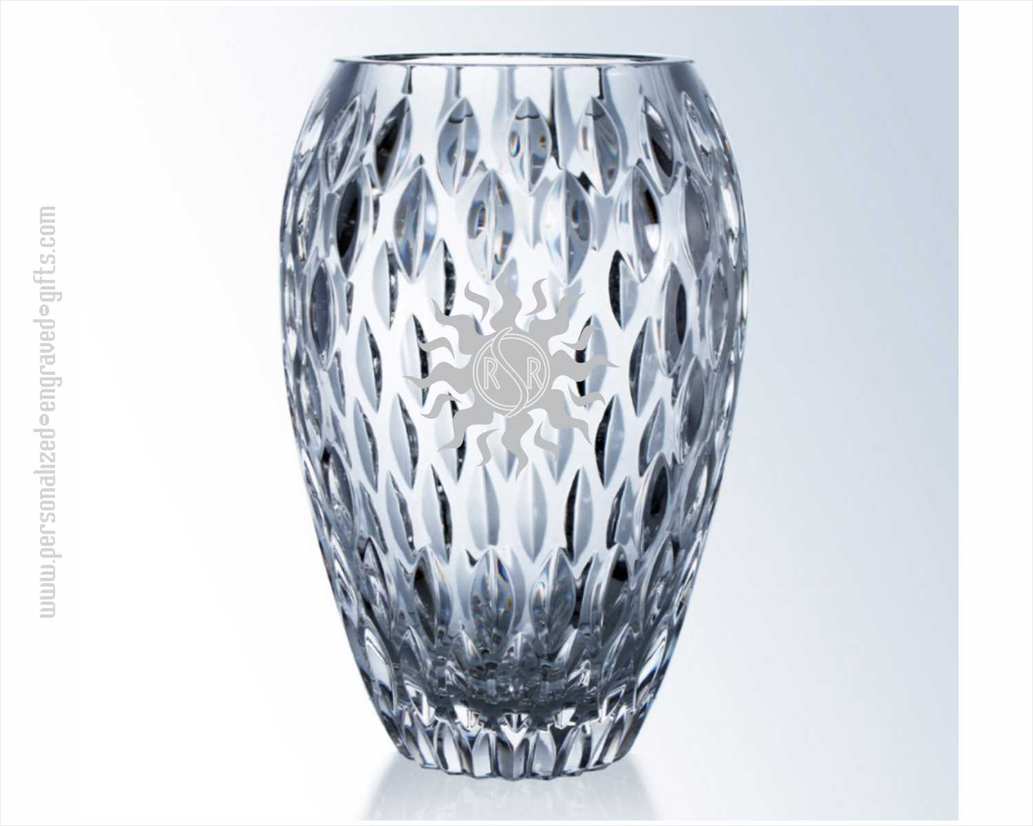 Deep Etched Lead Crystal Award Vases Clear Vulcan