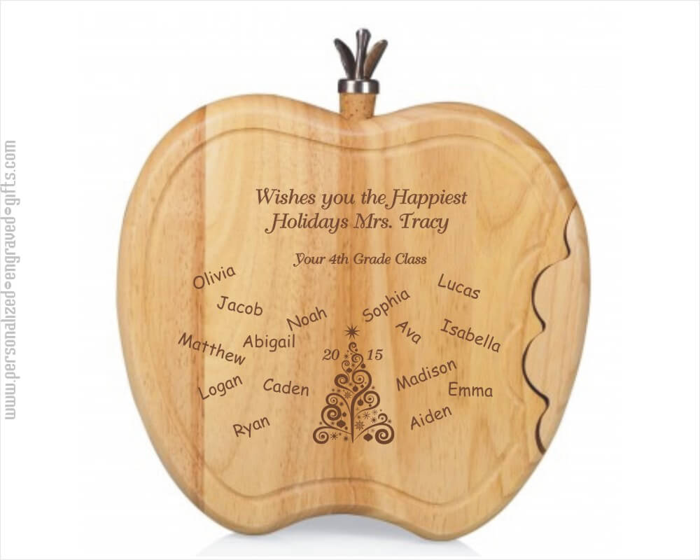 Engraved Cheese Boards Apple Shaped - Teacher Appreciation