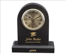 Engraved Arched Jet Black Marble Clock