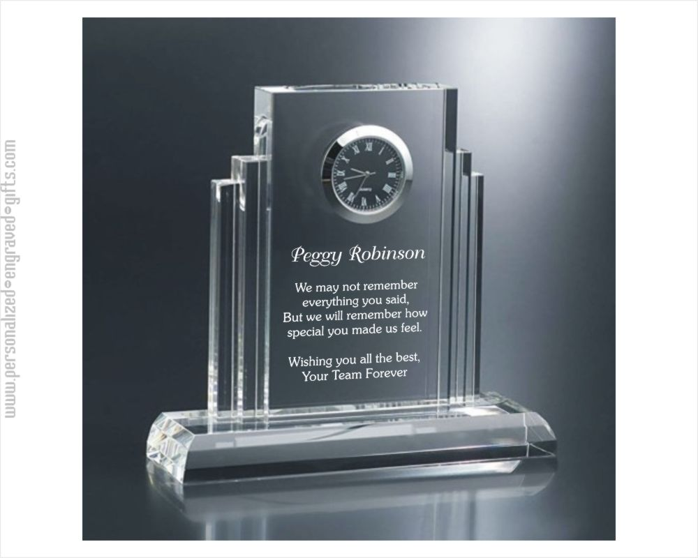 Engraved Art Deco Crystal Desktop Clock