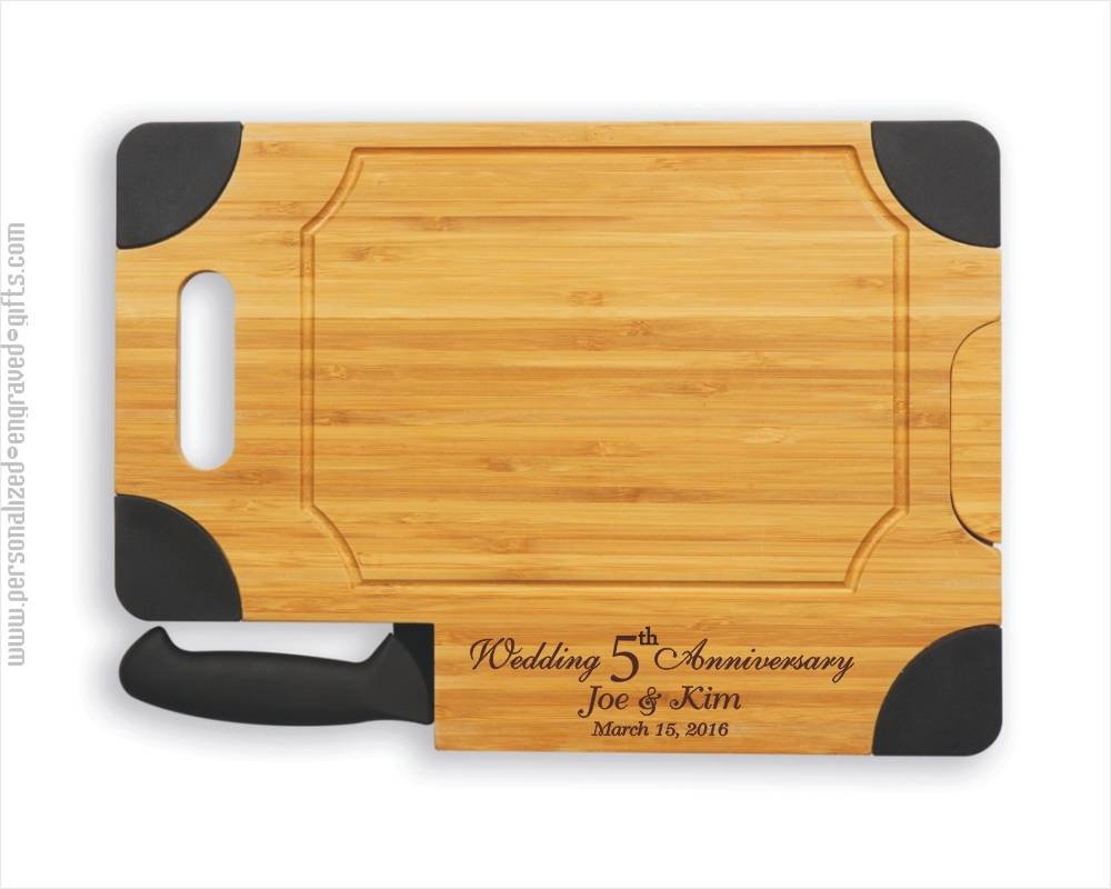 Personalized Engraved Cutting Board with Knife-Anne