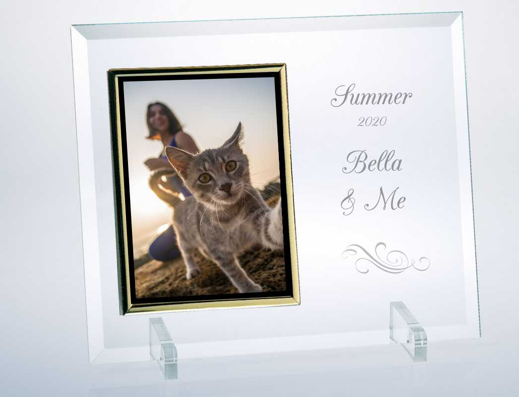 Engraved Beveled Glass Picture Frame