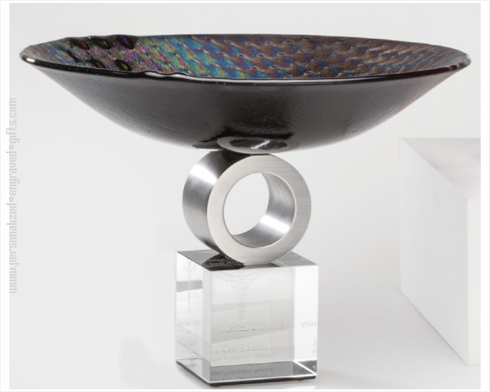 Metallic Black Art Glass Bowl with Chrome Accent Ebota