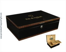 Engraved Black Lacquer Humidor with Inlay Design- Winston