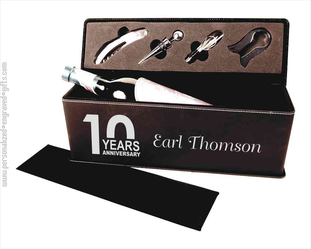 Laser Engraved Black Leatherette Wine Gift Box with Tools