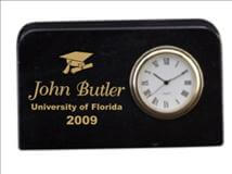 Engraved Black Marble Mini Plaque with Clock