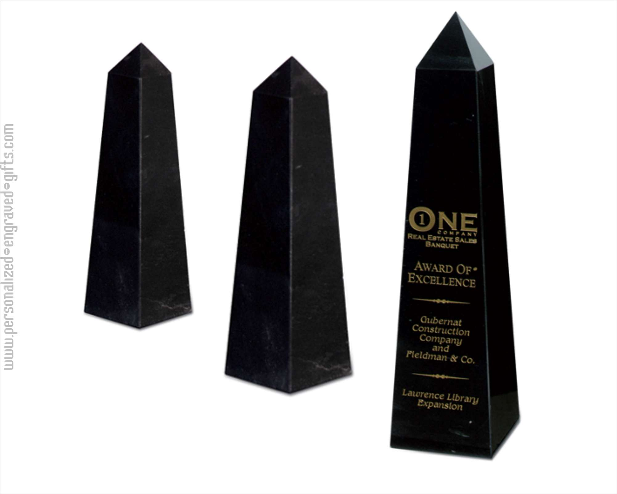 Engraved Black Marble Obelisk Award