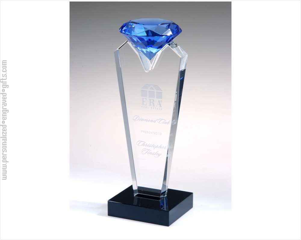 Engraved Blue Rising Diamond Tower Award