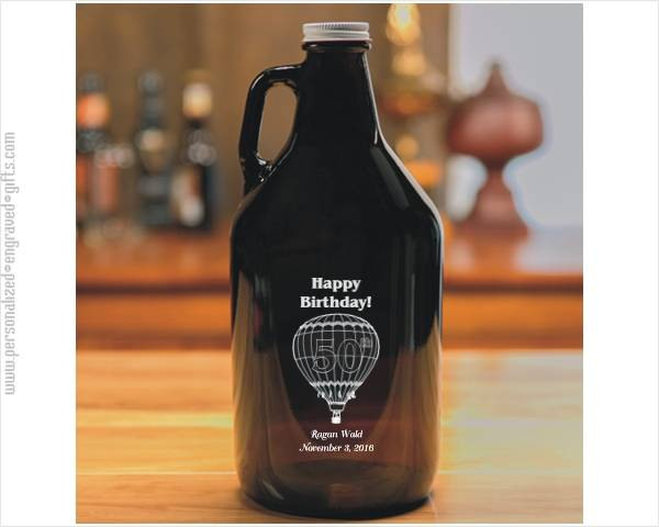 Engraved Amber Glass Beer Growler