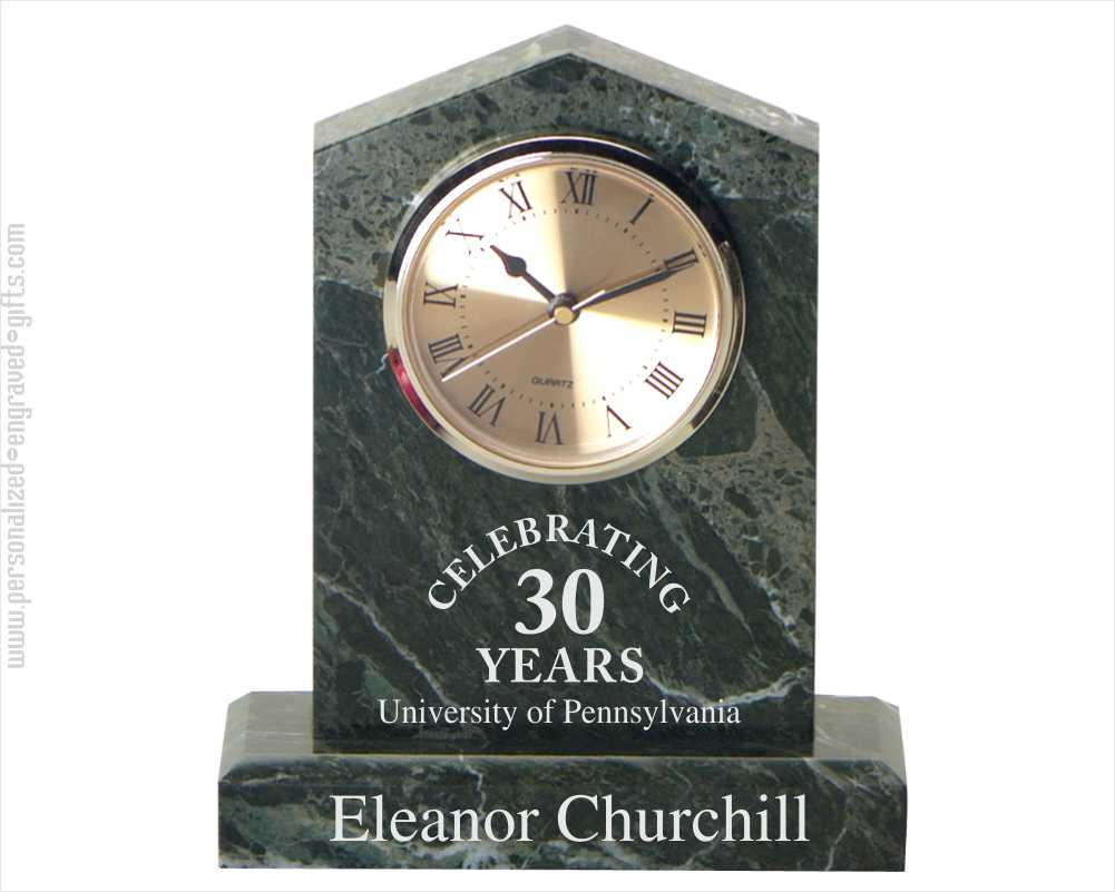 Engraved Cathedral Clock in Jade Marble with Personalized Text