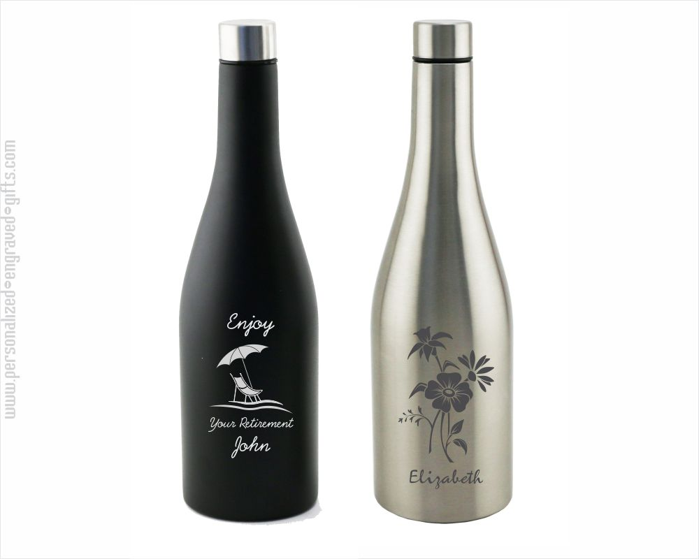 Chardonnay Wine Bottle Shaped Stainless Steel Flask Laser Engraved