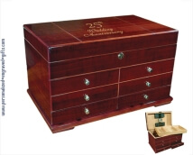 Personalized Cherry Finish Humidor - Marco