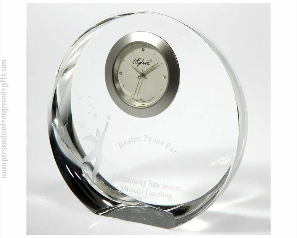 Personalized Circular 4 inch Crystal Clock Crown