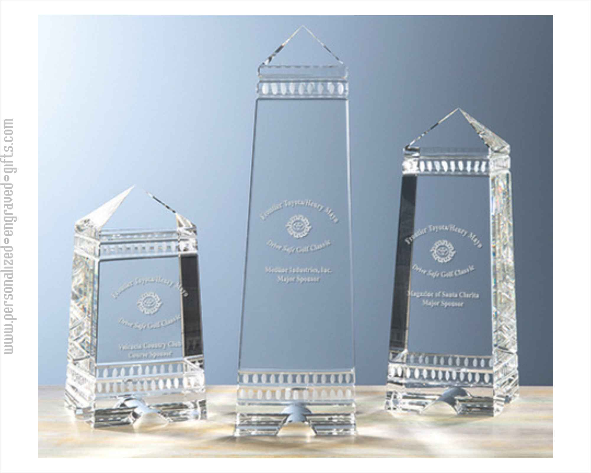 Etched Crystal Greek Styled Obelisk Awards