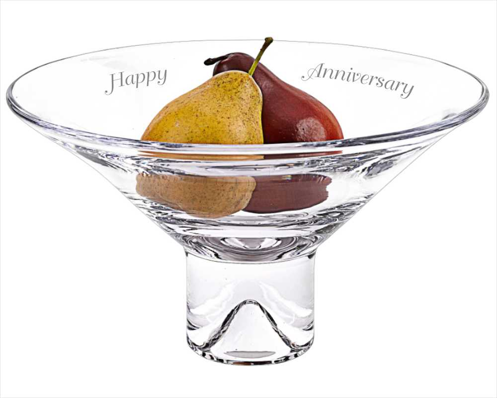 Clear Glass Personalized Inverted Pyramid Bowl - Melody
