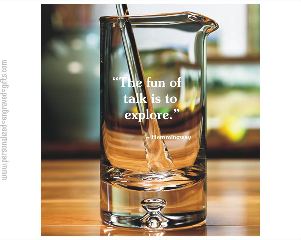 Engraved Glass Cocktail Mixer with Distinctive Bubble Base