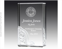 Engraved Crystal Block Award with Pate De Verre Architectural Design