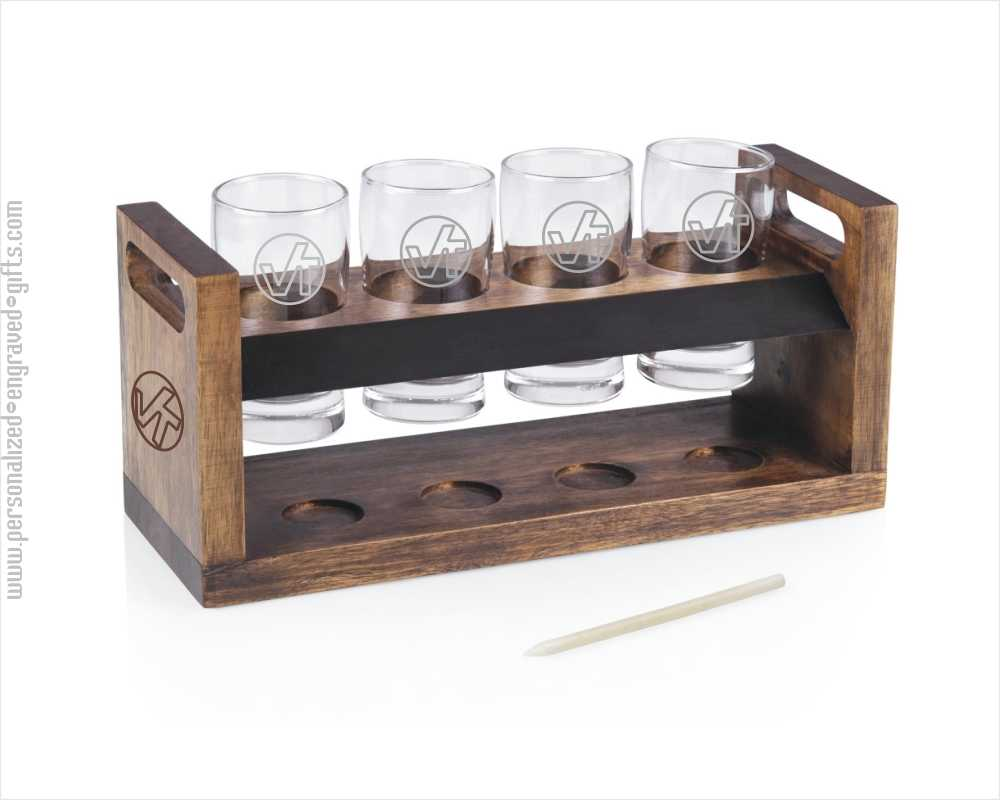 Floating Beer Glasses on Engraved Wooden Tray