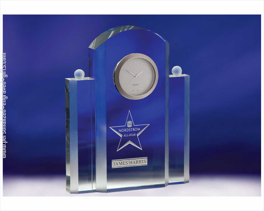 Engraved Crystal Art Deco Styled Clock Silvia