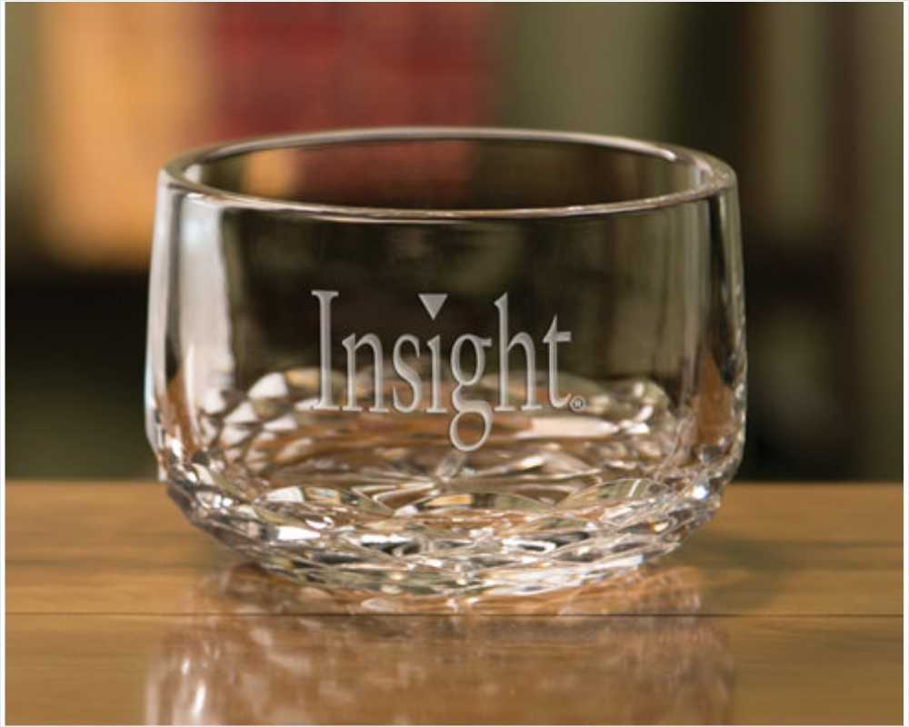 Custom Engraved 5 inch Crystal Bowl - Manhattan