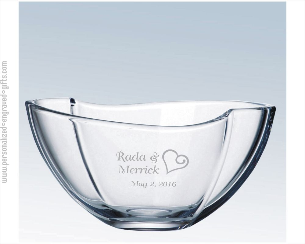 Engraved Crystal Ribbon Bowl Bailey