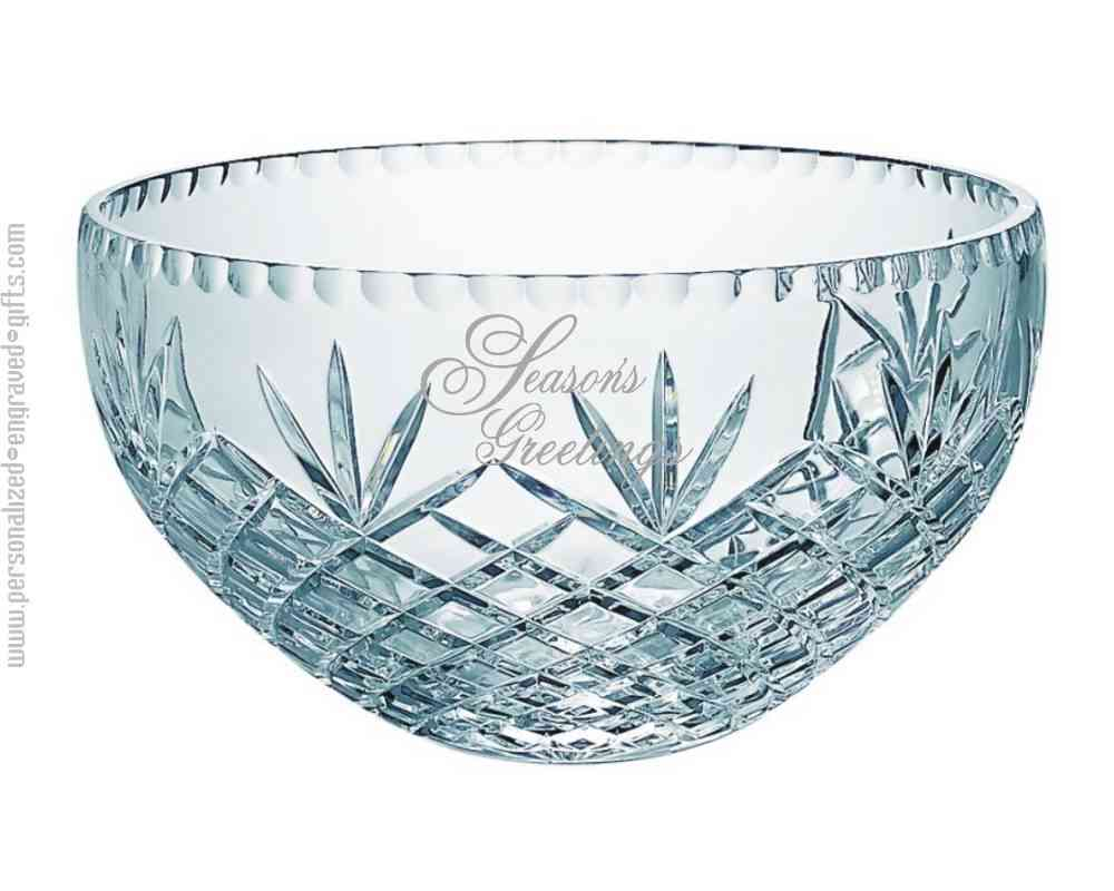 Personalized Crystal Bowl with Wheat Top Design The Peyton