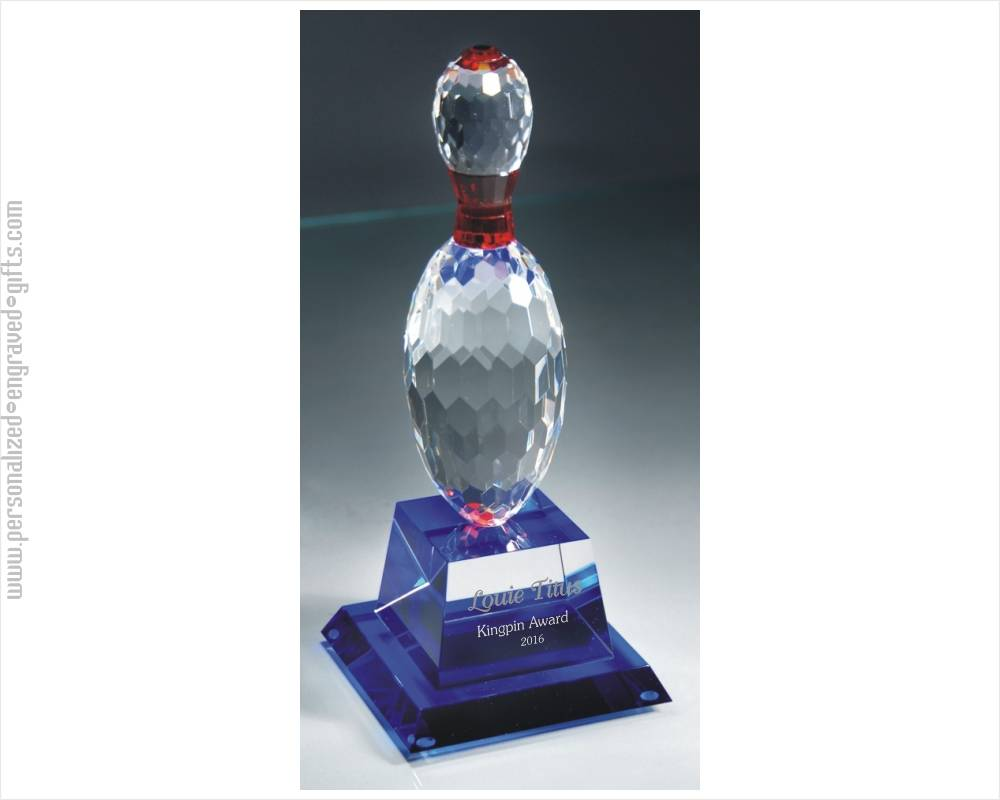 Custom Engraved Crystal Bowling Pin - Kingpin Award