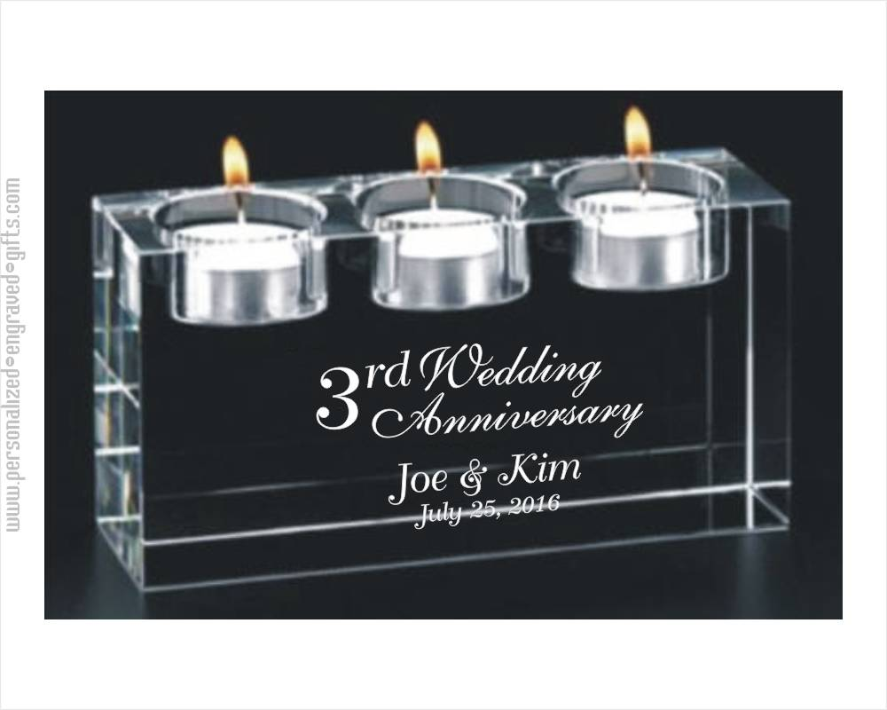 Engraved Crystal Candle Block Triad