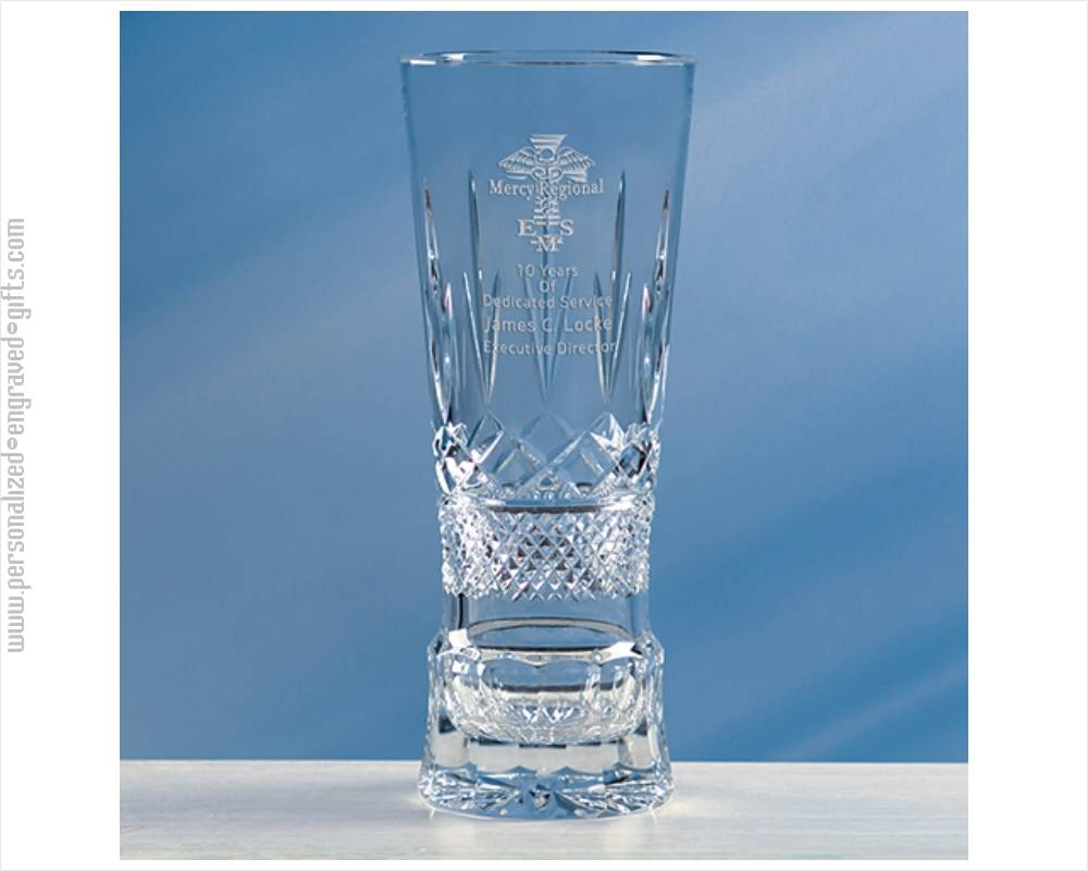 Engraved Crystal Champion Vase with Laurel