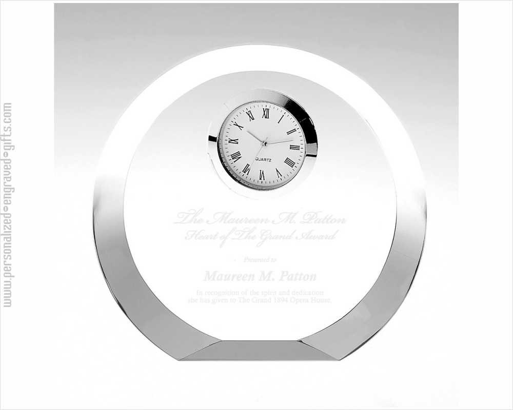 Engraved Crystal Round Clock with thick Beveled Edge Luna