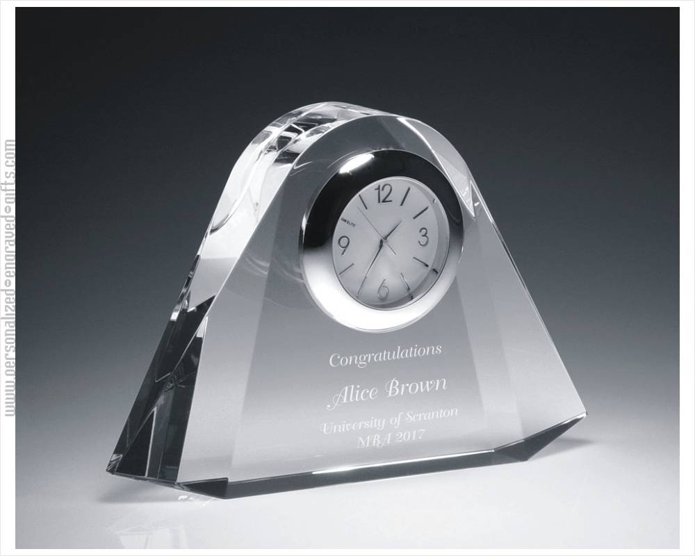 Engraved Crystal Clock Miami Deco