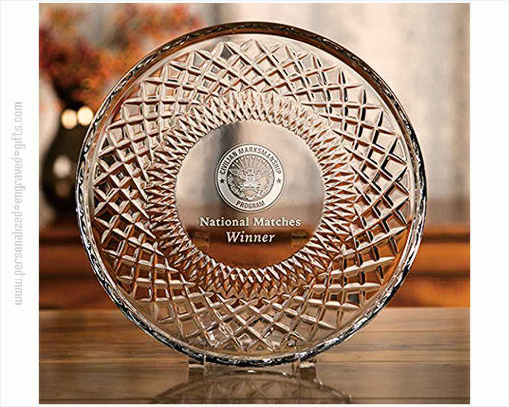 Engraved Crystal Presentation Plate with Crisscross Design