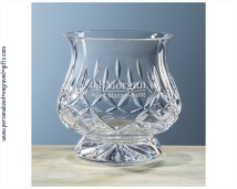 Engraved Cut Crystal Hurricane Vase - Candle