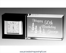 Personalized Black & Clear Crystal Desk Clock