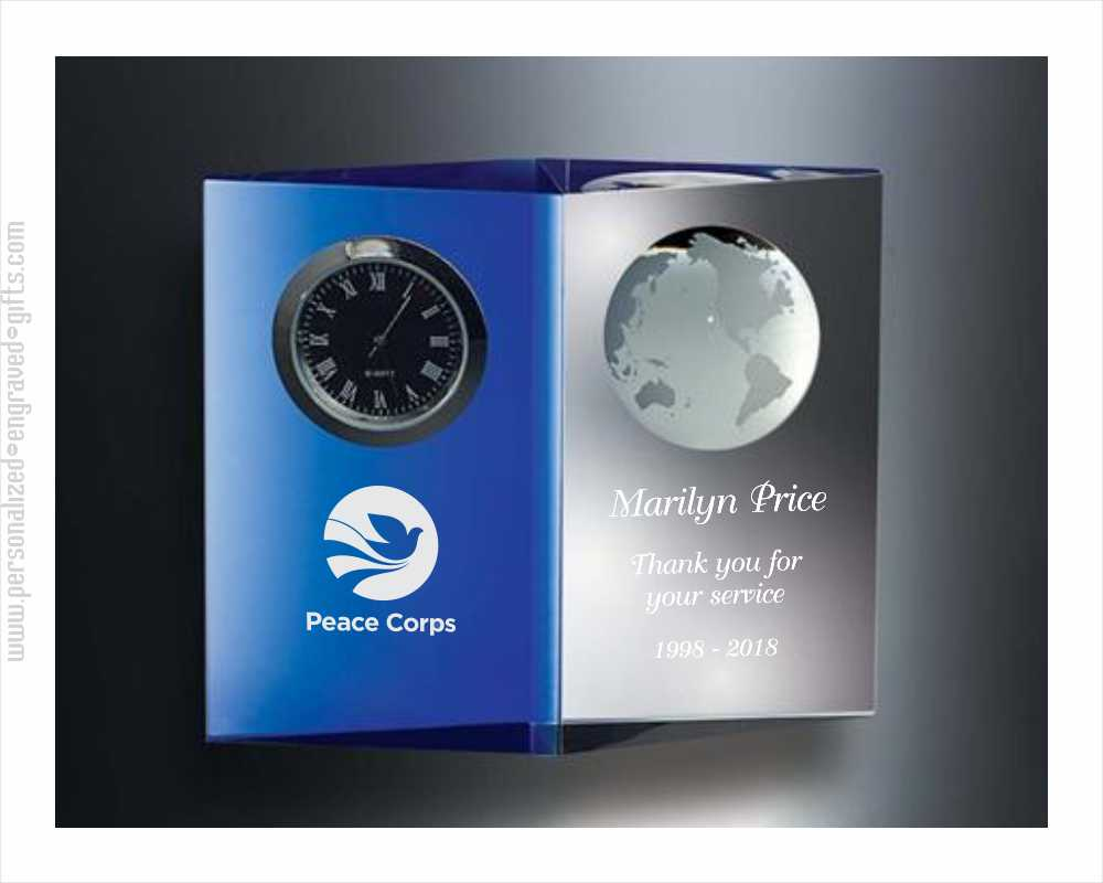 Engraved Crystal Clock with Inlaid Earth - Blue Planet