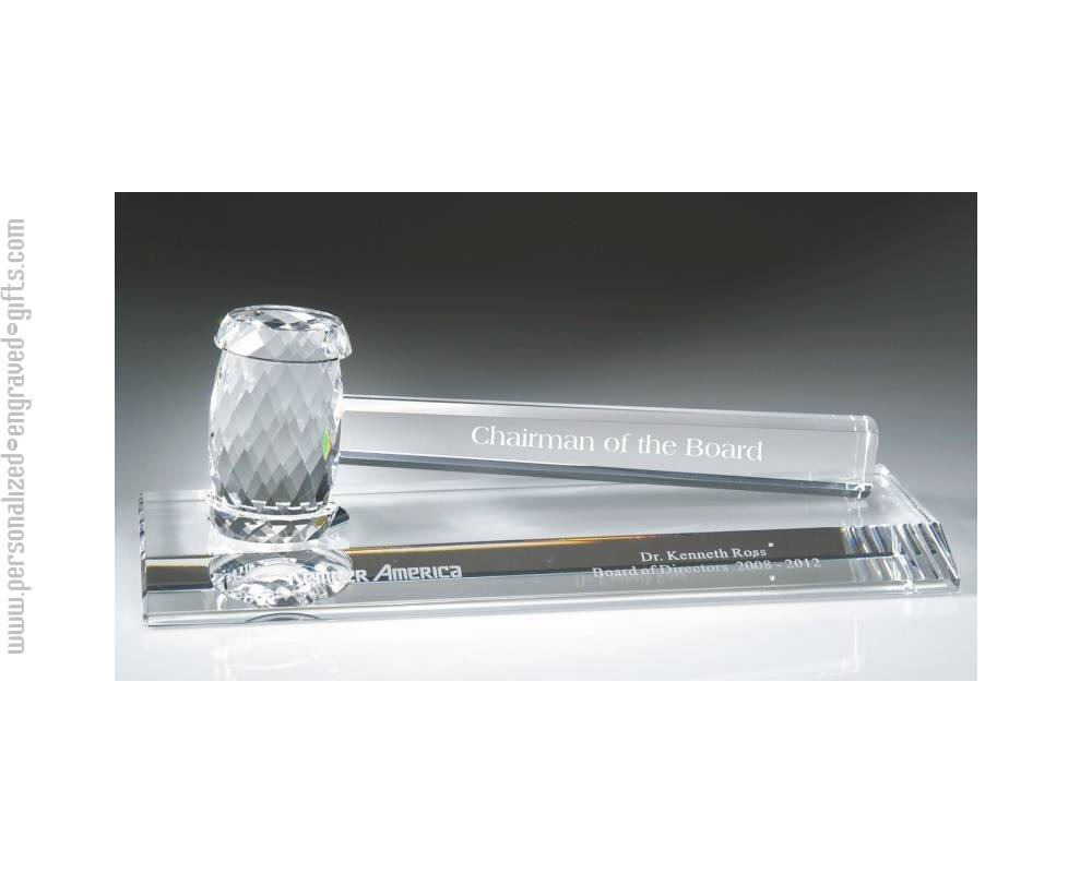 Engraved Crystal Gavel Award