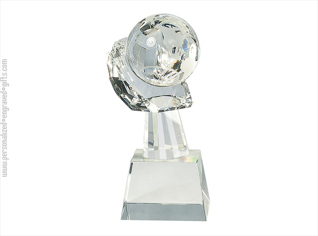 Engraved Crystal  Globe on Hand Award