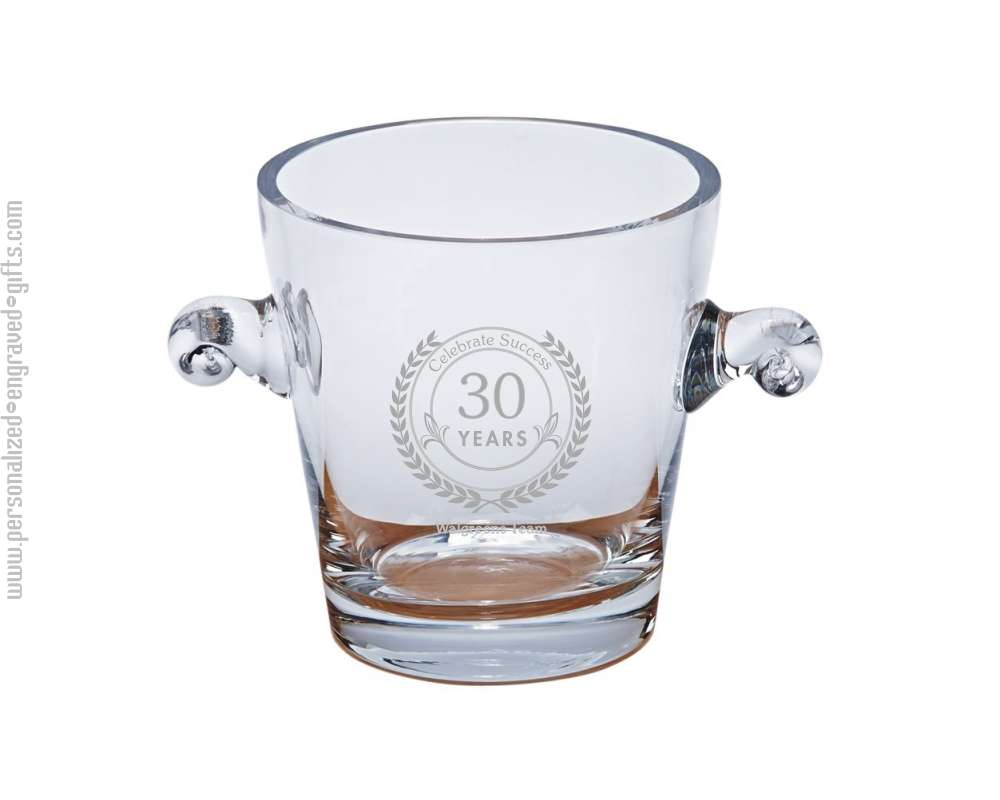 Engraved Crystal Ice Bucket with Handles Derby