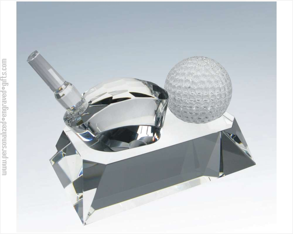Engraved Crystal Name Plate with Frosted Golf Ball