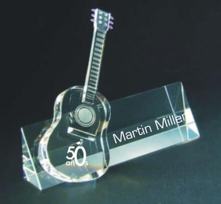 Custom Engraved Crystal Guitar Award - Nameplate