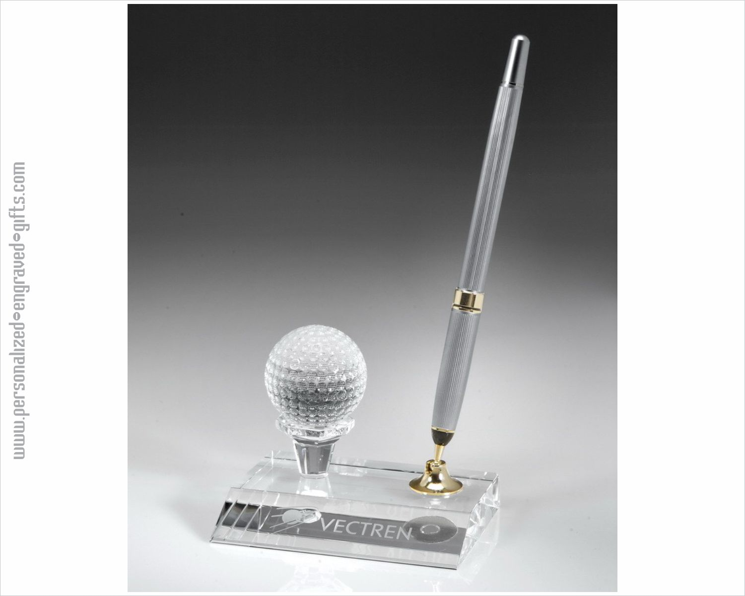 Engraved Crystal Pen Set with Golf Ball
