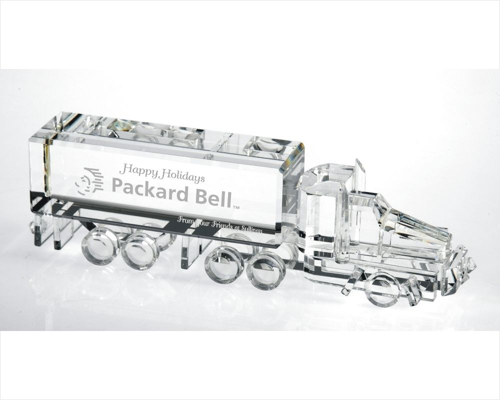 Engraved Crystal Semi Truck 3 Dimensional Crystal Transportation Figurine
