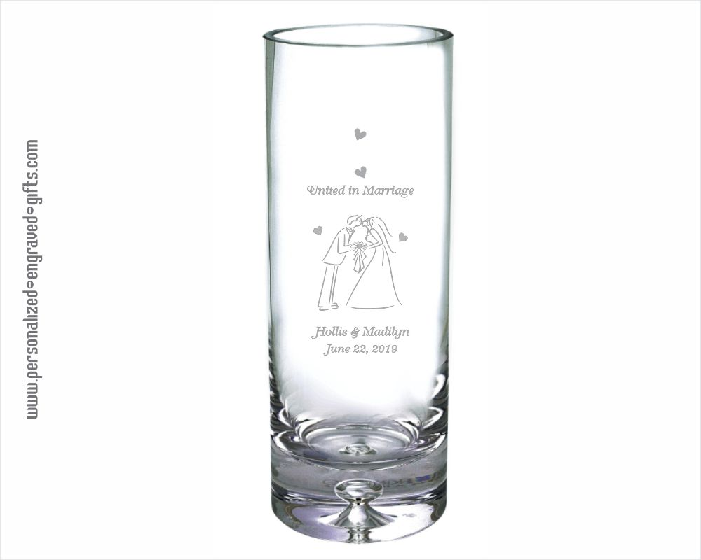 Personalized Straight-Sided 10 inch Crystal Vase - The Shelby